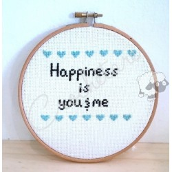 "Kit Punto de Cruz ""Happiness is you&me"""