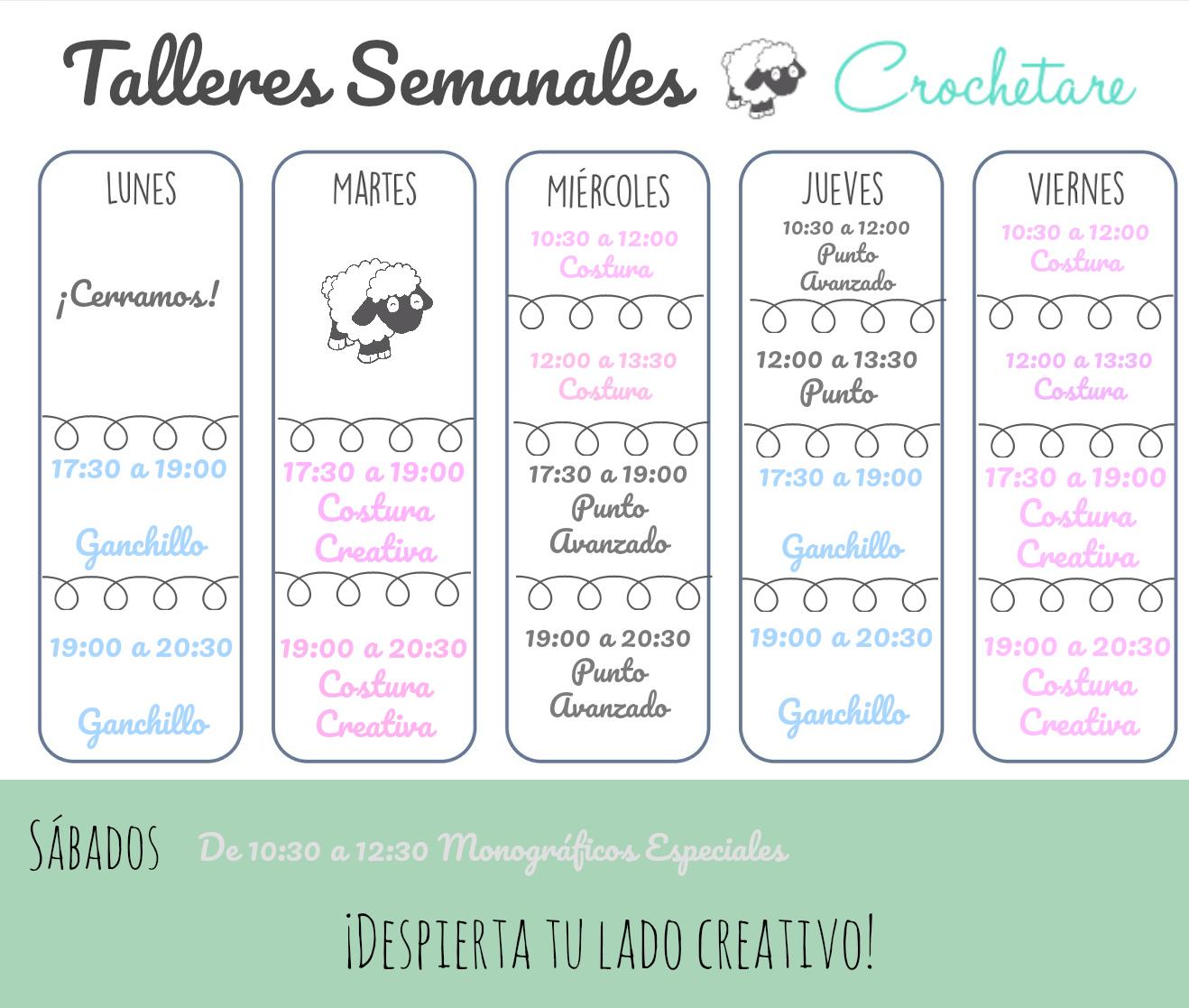 calendario semanal cursos y talleres crochetare